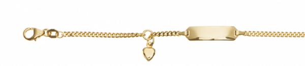 Kinder ID Armband 333er Gelbgold Herz