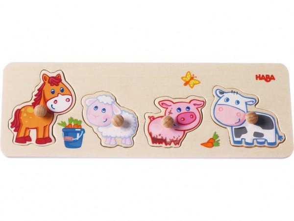 Haba 301939 Greifpuzzle Bauernhof Tiere
